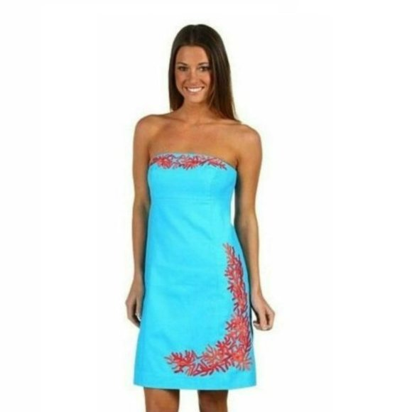 Lilly Pulitzer Blue Bowen Coral Embroided Dress